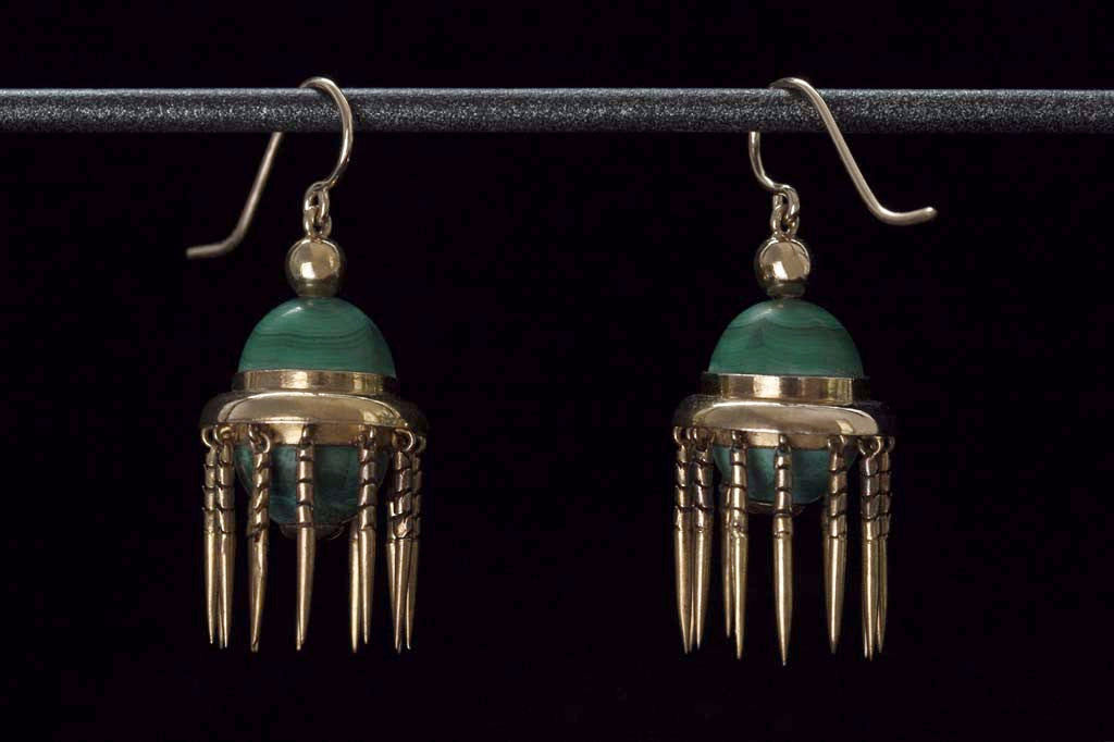 Victorian Malachite and Tassel Earrings