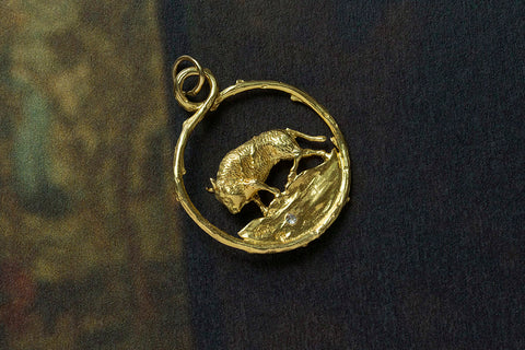 Vintage Zodiac 'Taurus' Pendant with Diamond