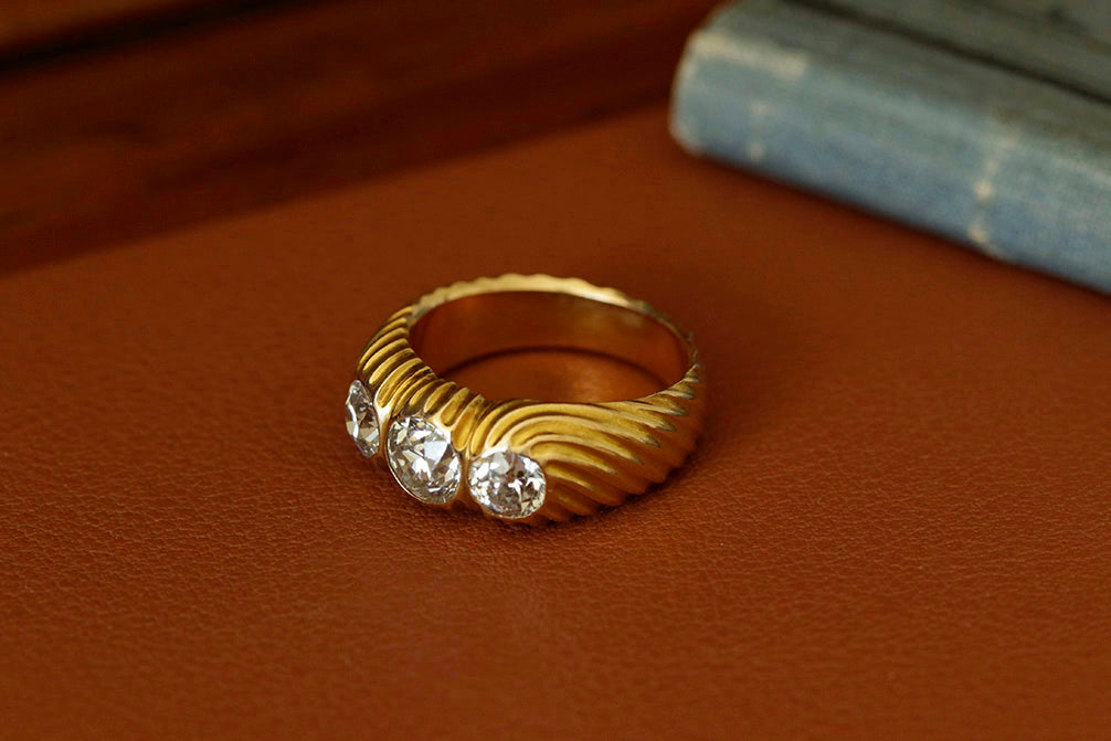 Early 20th Century Three Diamond Stone Ring