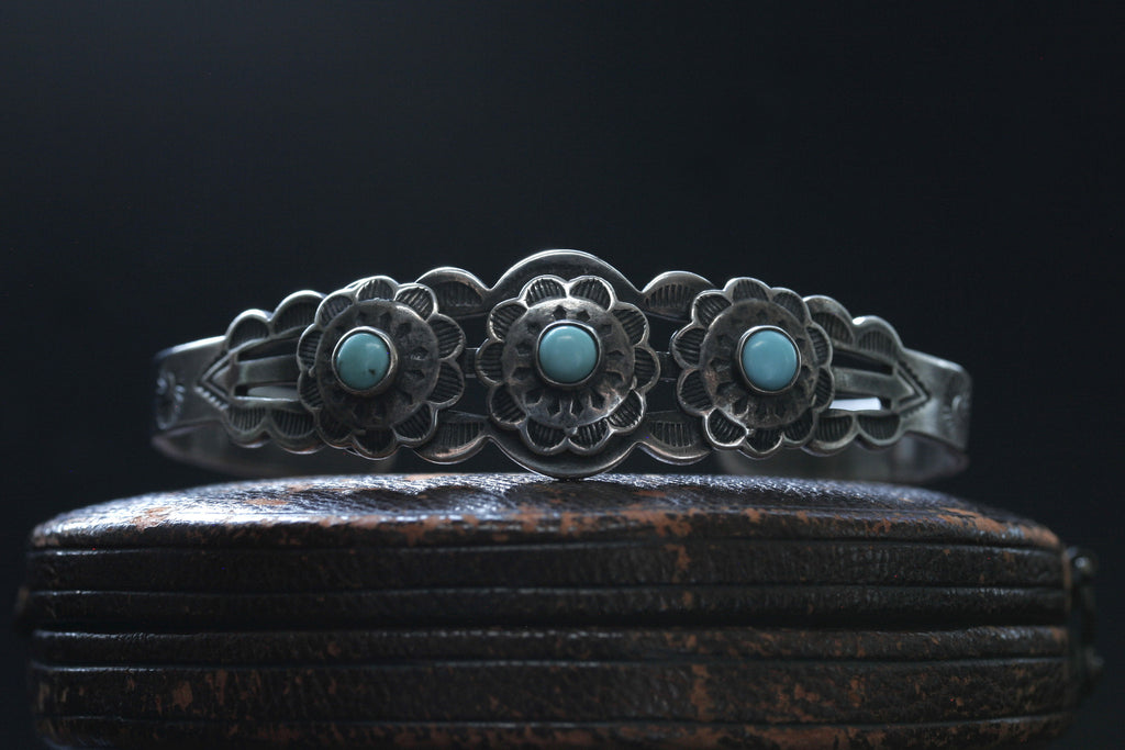 Navajo Three Turquoise Sterling Bangle
