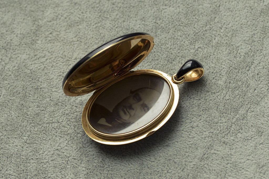 Victorian Tiffany & Co Black Enamel and Gold Locket