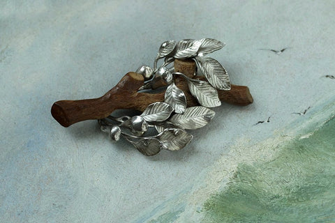 Vintage Naturalist Wood and Silver Tree Brooch