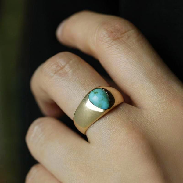 Late 19th Century Turquoise Cabochon Wide Gold Band