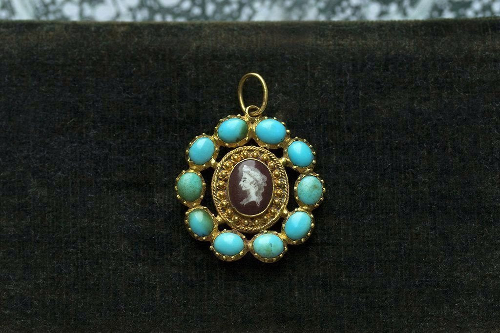 Late 18th Century Turquoise and Enamel Cameo Pendant