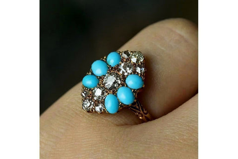 Victorian Diamond and Turquoise Ring