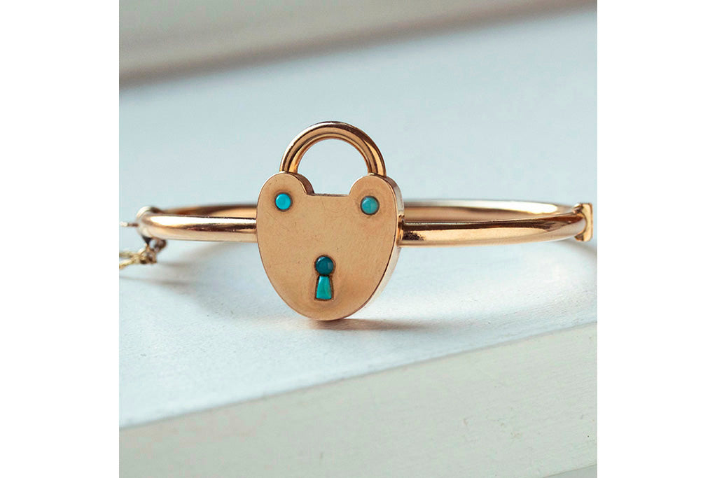Victorian Turquoise and Gold Padlock Bangle