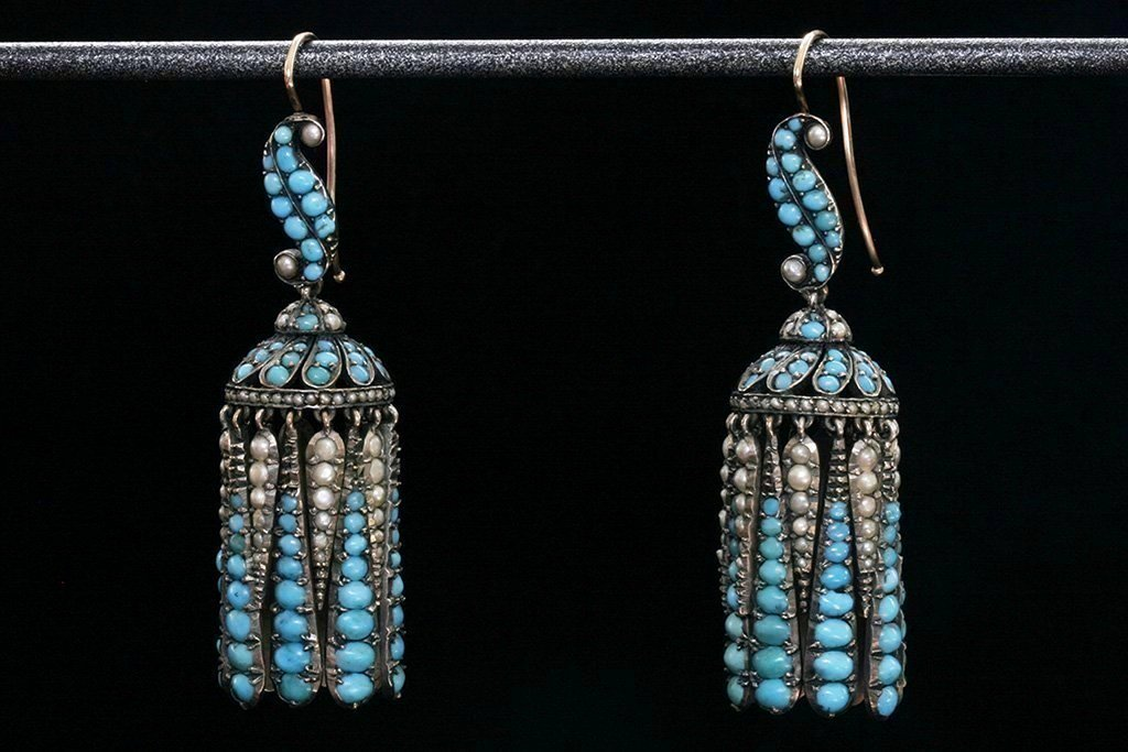 Victorian Turquoise and Pearl Tassel Earrings