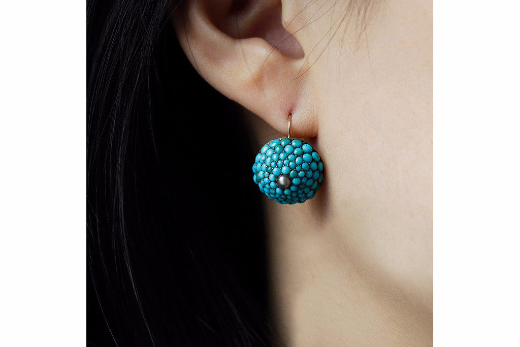 Victorian Pavé Turquoise and Pearl Dome Earrings