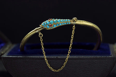 Victorian Turquoise and Gold Snake Bracelet