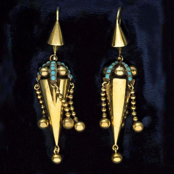 Victorian Turquoise and Tassel Earrings in Fitted Box
