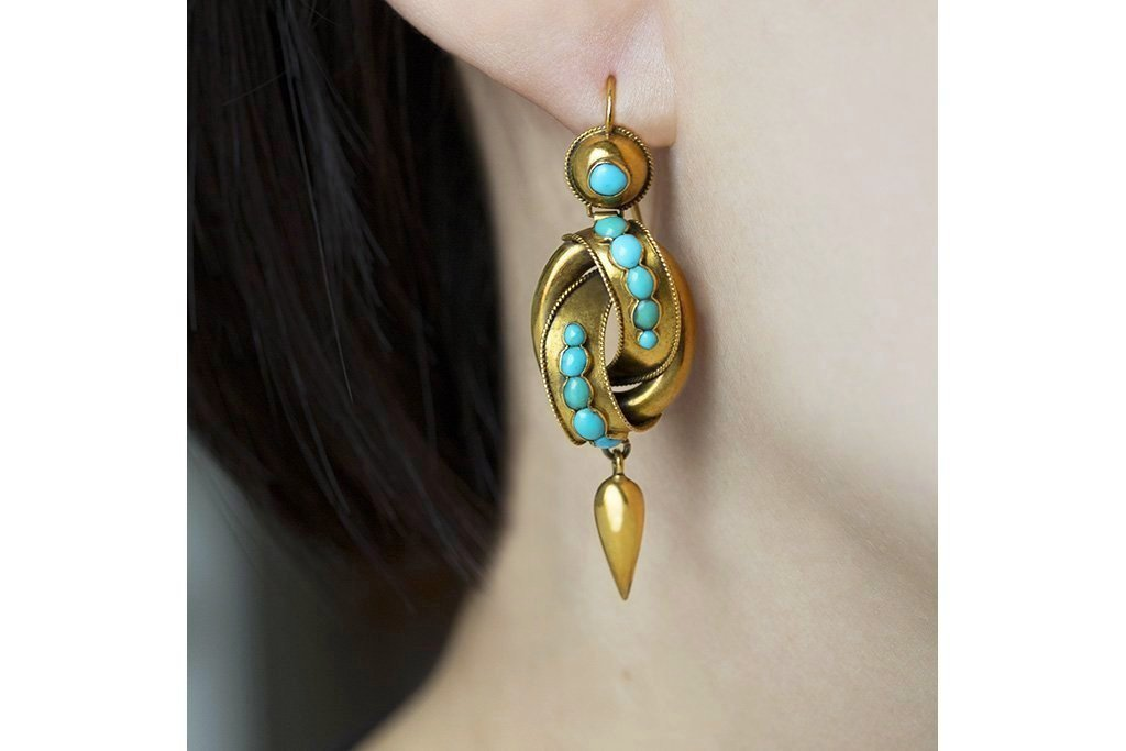 Victorian Gold Knot & Turquoise Drop Earrings