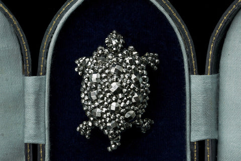 Victorian Cut Steel Turtle Brooch