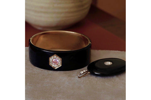 Mid-Victorian Black Enamel Diamond Locket and Black Enamel Bangle