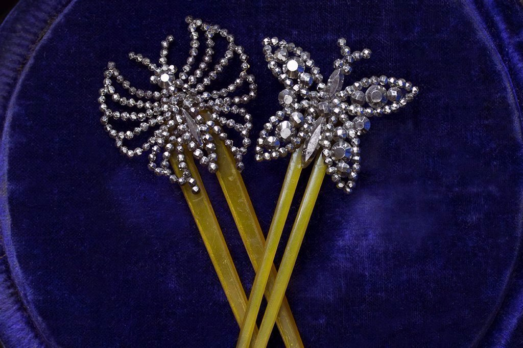 Victorian Cut Steel Butterfly Hair Comb