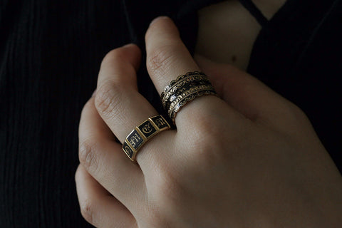 Black Enamel 'Lace' Wide Mourning Ring