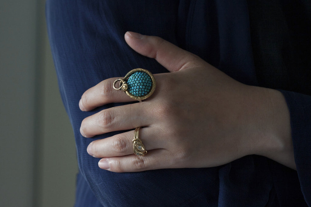 Victorian Turquoise and Snake Ring