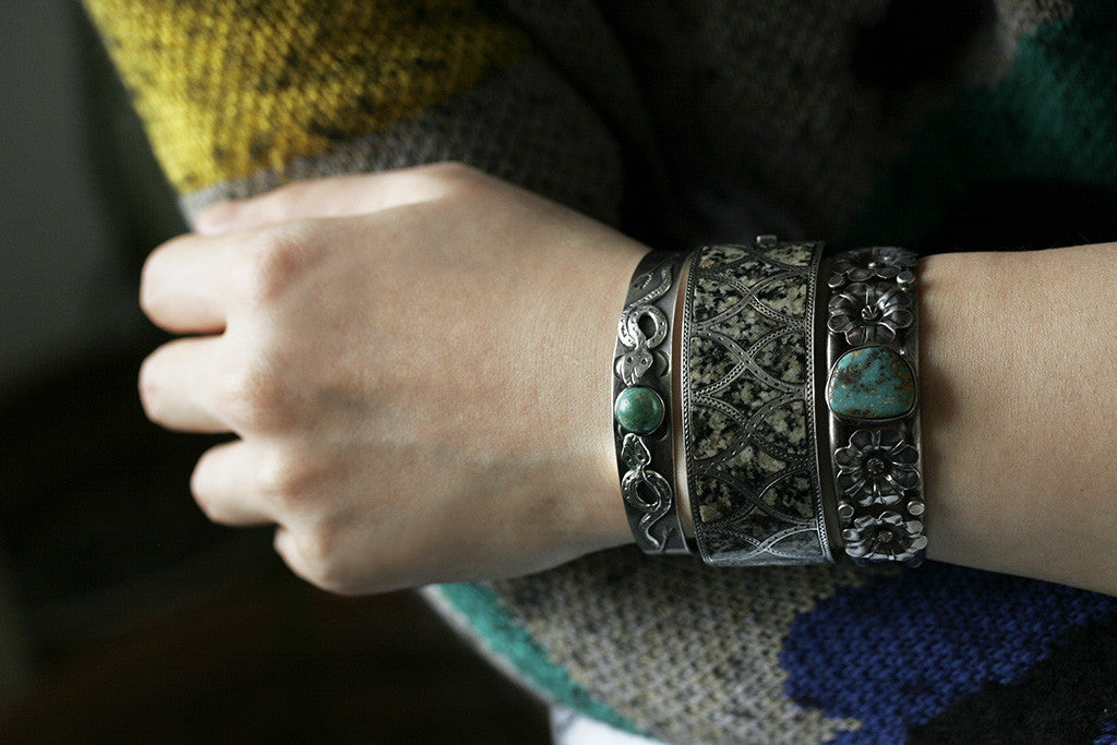 Silver and Turquoise Double Serpent Bangle
