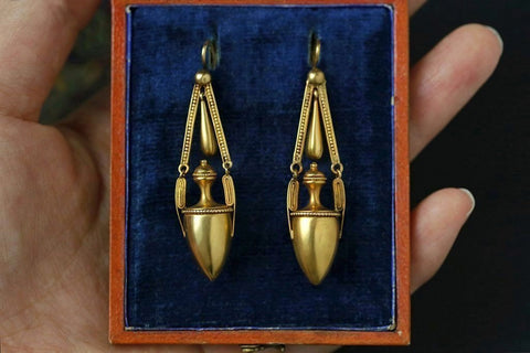 Victorian Etruscan Revival Urn Earrings