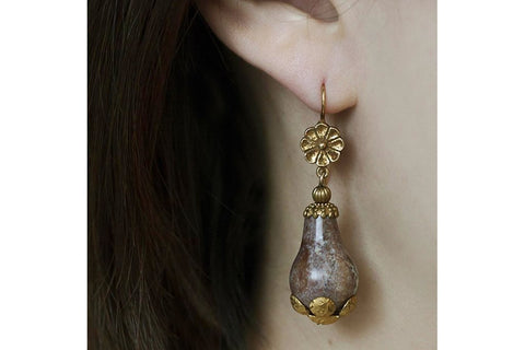 Victorian Agate Pinchbeck Drop Earrings