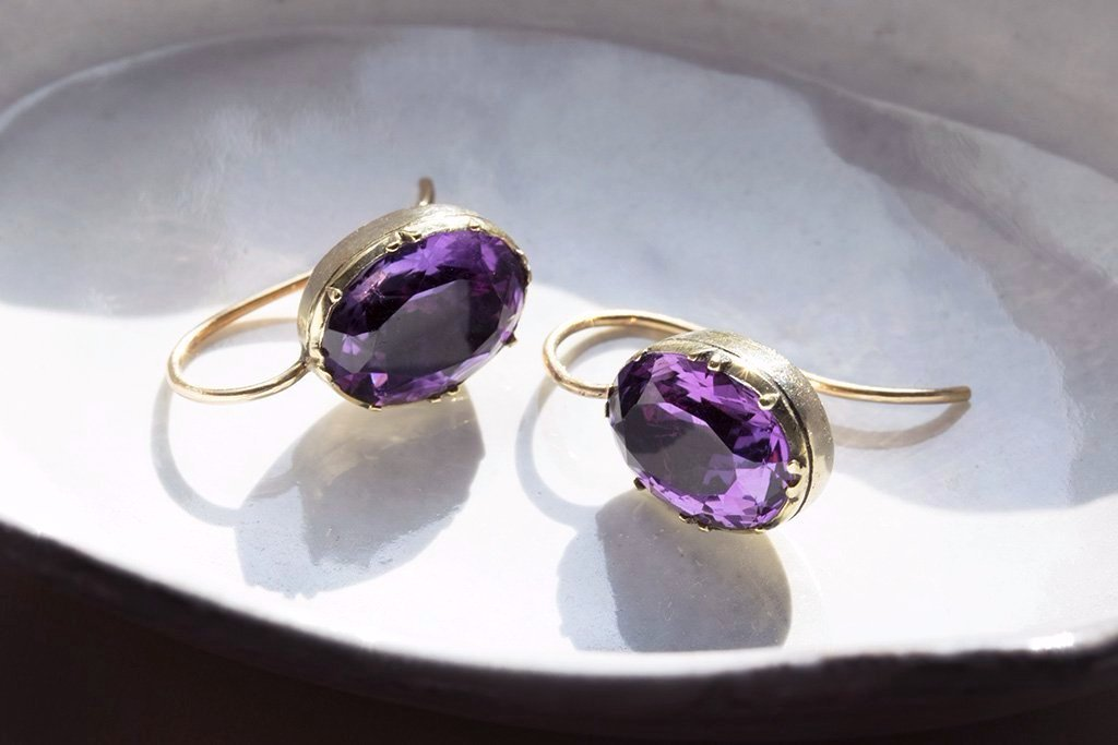 Victorian Amethyst Solitaire Earrings
