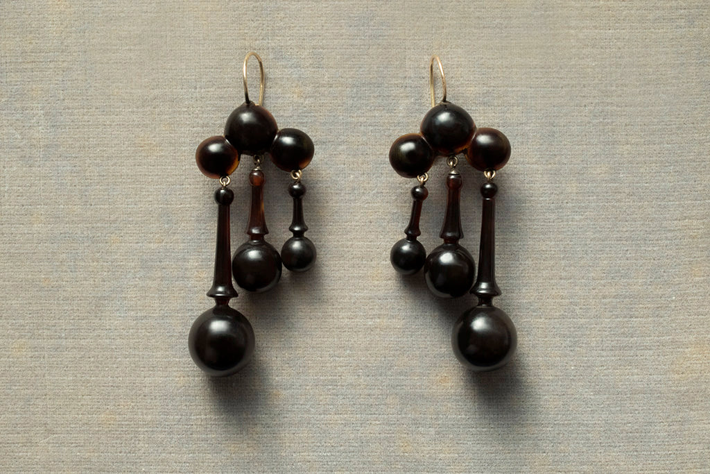 Victorian Tortoise Shell Drop Earrings