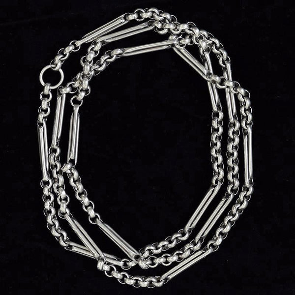 Rare Victorian Extra Long Sterling Silver Chain