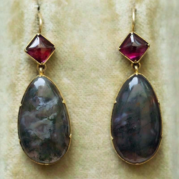 Late Victorian Moss Agate and Garnet Earrings