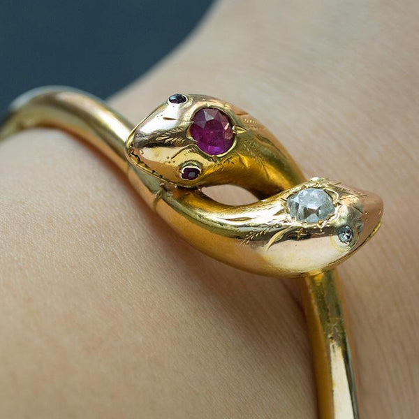 Victorian Ruby Diamond Snake Bangle