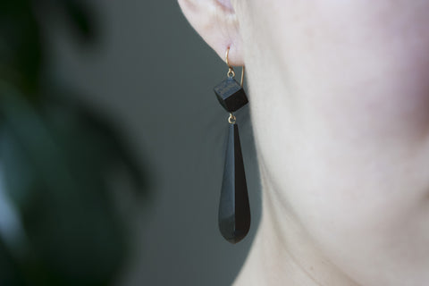 Victorian Gutta Percha Drop Earrings