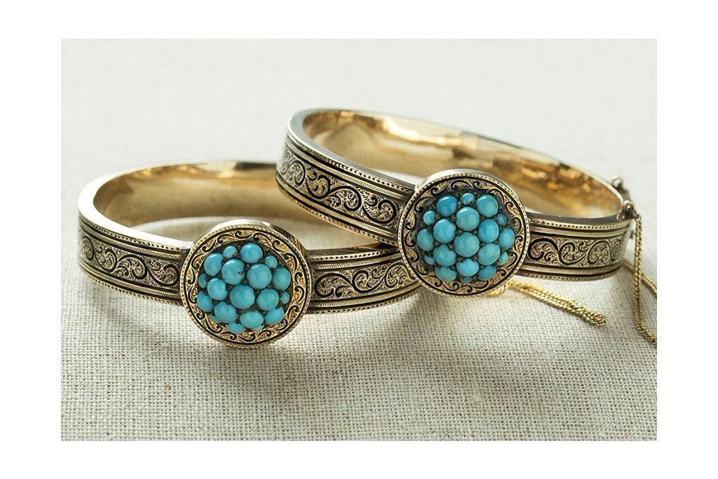 Victorian Matched Set of Turquoise and Black Enamel Bangles