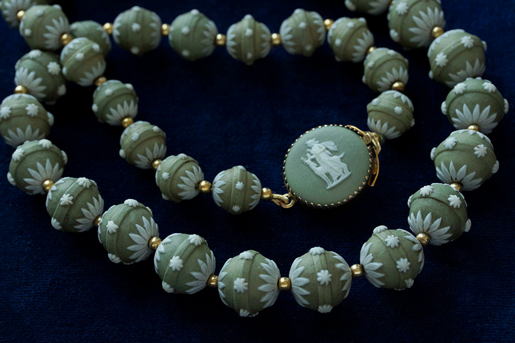 Laelius Antiques Rare Georgian Wedgwood Green Beads Necklace