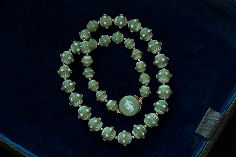 Rare Georgian Wedgwood Green Beads Necklace