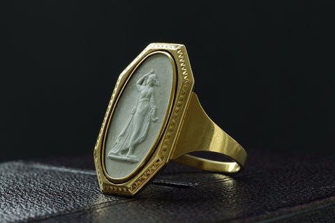 Rare Georgian Wedgwood Swivel Ring