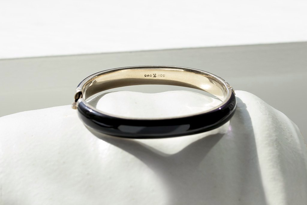 Victorian Black Enamel Bangle