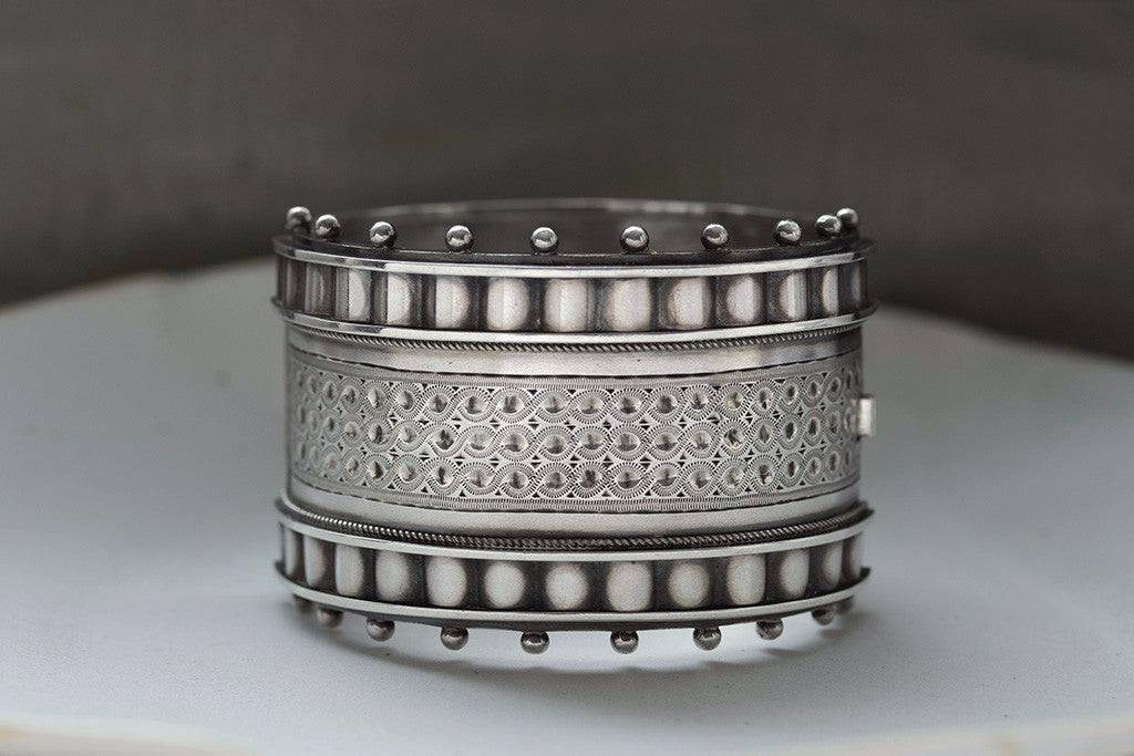 Victorian Extra Wide Sterling Silver Bangle
