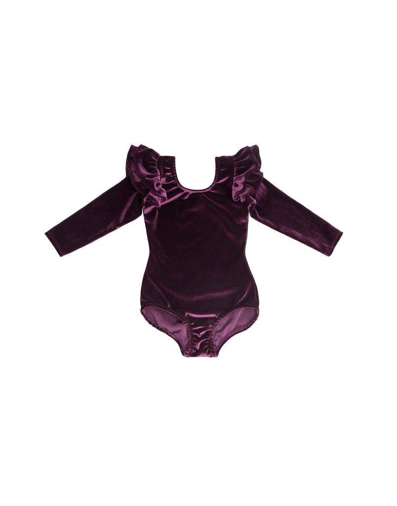 Mullberry Velvet Long Sleeve Bodysuit