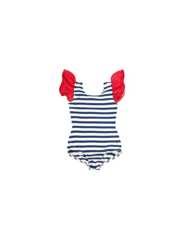 Red, Cream and Blue Sleeveless Bodysuit