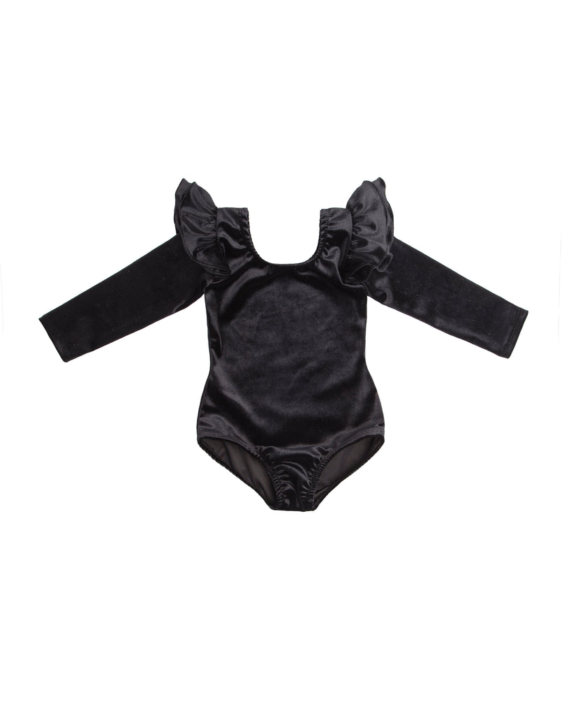Black Velvet Long Sleeve Bodysuit