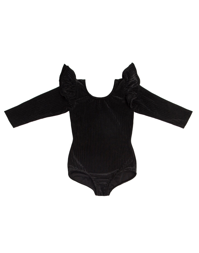 Black Square Velvet Long Sleeve Bodysuit