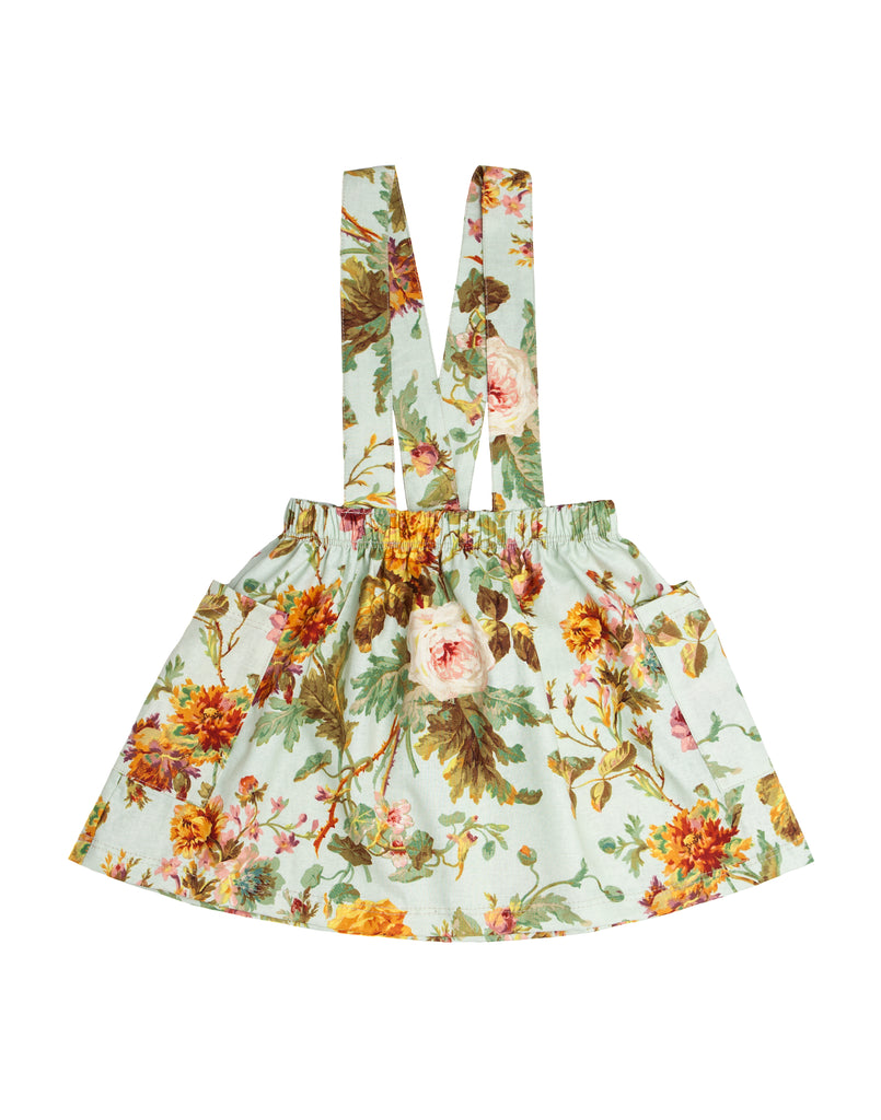 Mint Floral Suspender Skirt