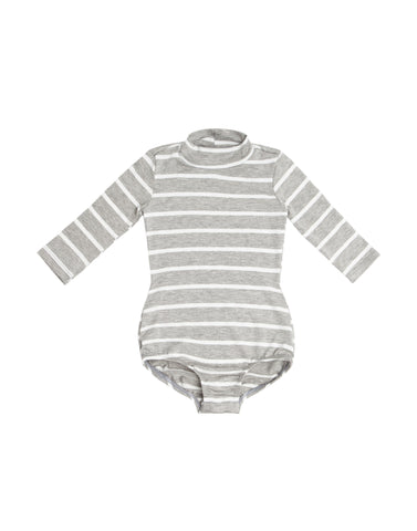 Grey Stripe Mock Neck Long Sleeve Bodysuit