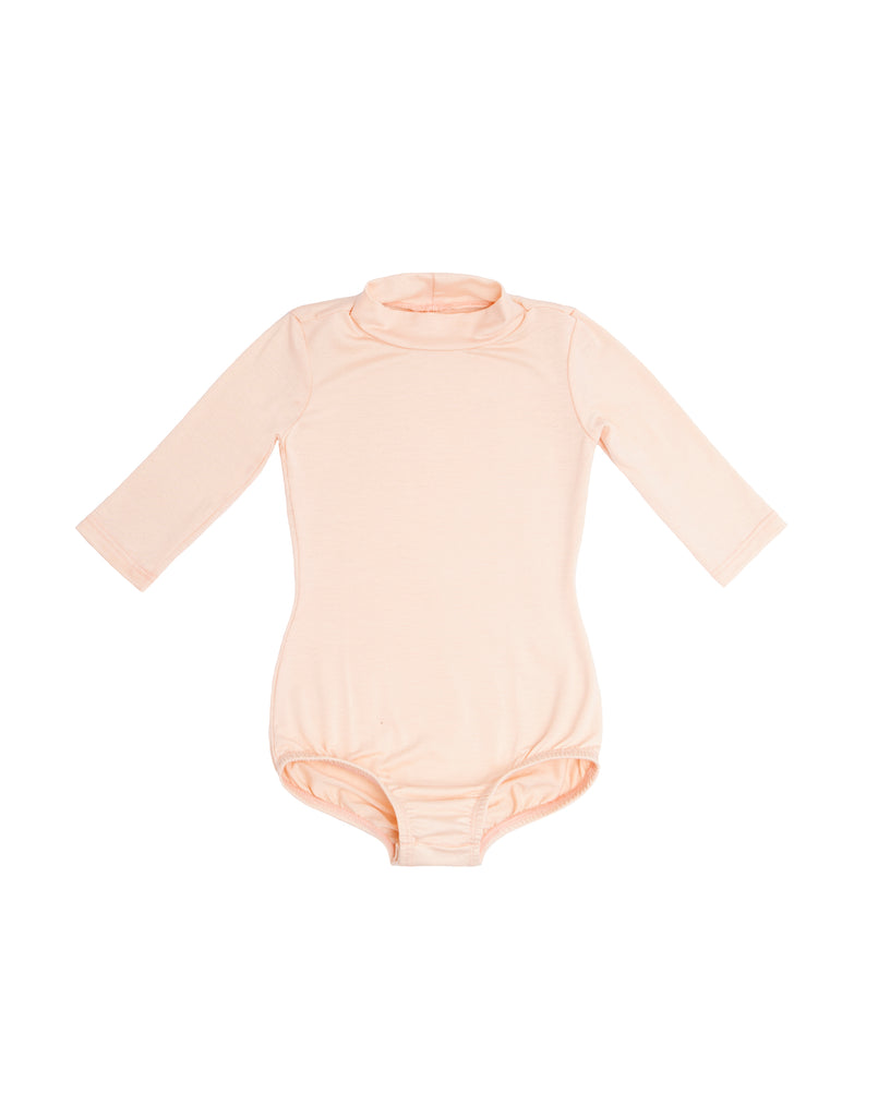 Peach Mock Neck Long Sleeve Bodysuit