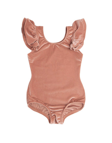 Rose Gold Sleeveless Velvet Bodysuit