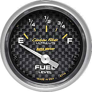 Autometer Carbon Fiber Electric Fuel Level Gauge