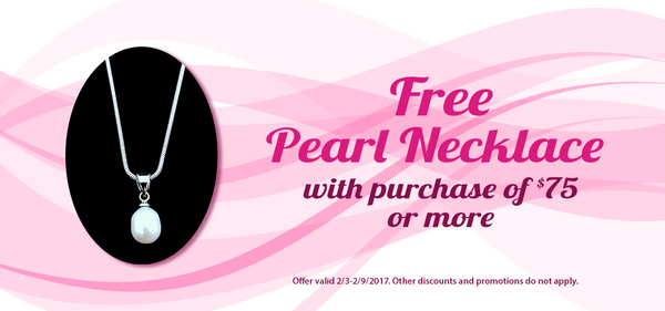 SPEND $75 GET A FREE PEARL NECKLACE.