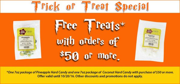 Receive two free bags of candy with $50 spend at HiloHattie.com