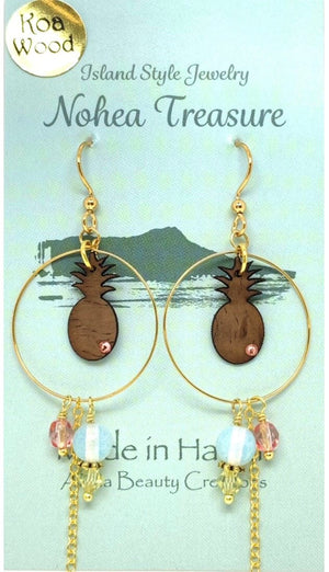 Nohea Treasure Koa Wood Earrings - Pineapple