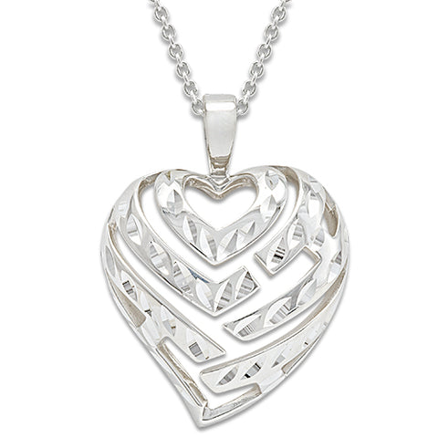 Aloha Heart Necklace in Sterling Silver - 24mm