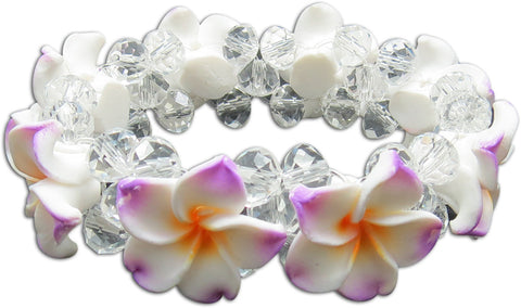 WHITE LILAC YELLOW - FIMO FLOWER BLING BRACELET