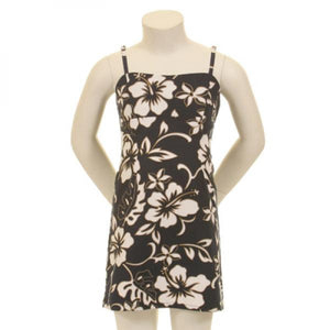 Classic Hibiscus Girls Fitted Strap Dress